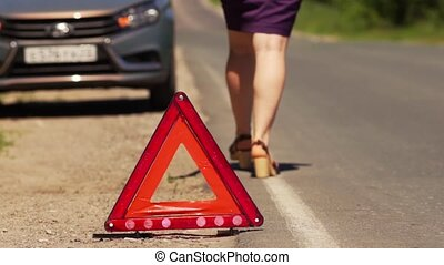 Woman Installed Red Triangle - Emergency Stop Sign -...