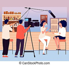 Woman interview in bar. Vlog or bloggers, video content for ...