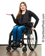 Woman invalid girl on wheelchair - Real people, disability...