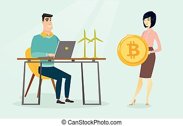 Woman investing bitcoins in green technology. - Caucasian...