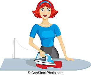 Woman ironing clothes - Beautiful woman with brown hair...