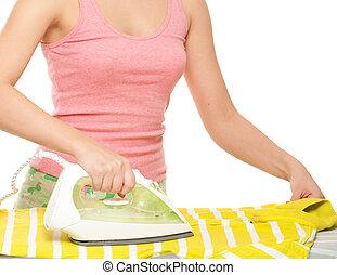 Woman ironing. Isolated on white background