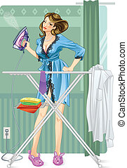 Sexy modern housewife irons clothes.
