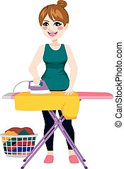 Woman Ironing Shirt - Full body illustration of young...