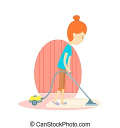 woman is cleaning the floor with a vacuum cleaner, Woman is using a vacuum cleaner, Woman is vacuuming, Mother is using a vacuum, Mother is cleaning the room, cute vector cartooning style, Colorful