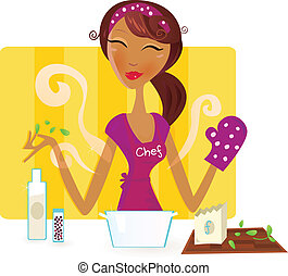 Sexy woman chef is preparing dinner in the kitchen. Vector Illustration.