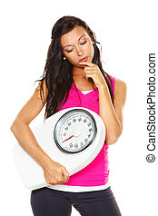 woman is dissatisfied with body weight - a young woman is ...