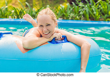 woman is having fun in the water park