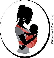 woman is holding a baby in a sling - Silhouette of a woman ...