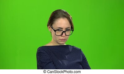 Woman is offended to be angry at her friend. Green screen -...