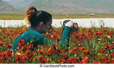 Woman is Photographing Field of Flowering Poppies in the...
