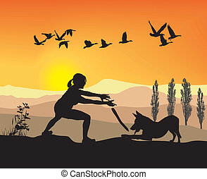 Woman is played With Dog in nature
