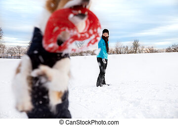 Woman is playing with her dog in the snow at the winter season, frisbee or flying disc