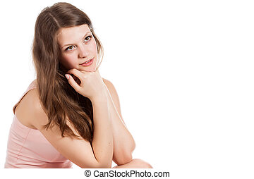woman is posing in studio