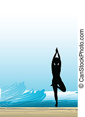 woman is practising yoga