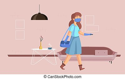 woman is ready to go office at home