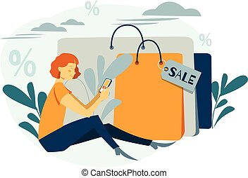 Woman is shopping. Beautiful girl with the packages. Fashionable. Online shoping. Vector illustration, cartoon style