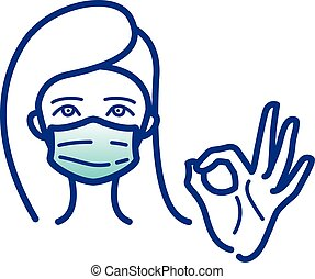 Woman is showing gesture okay. Women wear medical protective mask. For prevent virus, infectious diseases and flu. Surgical mask