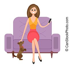 Woman is sitting on the couch and petting the dog. Beautiful girl with a phone in her hands. Female character is resting and spending time at home with her pet. The puppy stands on its hind legs