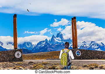 Woman is standing by Mount Fitz Roy