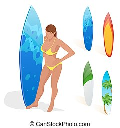 Woman is standing with a surfboard in his hands. Flat 3d vector isometric illustration. Extreme water sports.