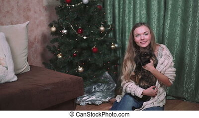 woman is stroking a cat christmas FHD