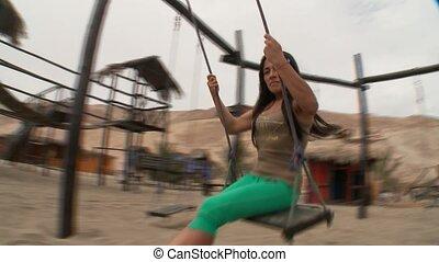 Woman Is Swinging - Woman On Swing