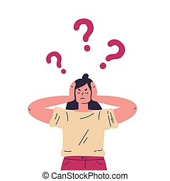 Confused young girl with question marks