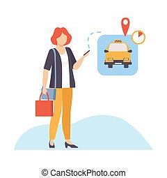Woman is waiting a taxi to relocate vector illustration on White Background.