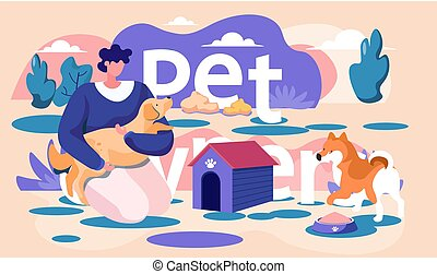 Young woman is walking with animal on the street. Dog is standing near a bowl of food. Trainer holding pet in his arms. Rehearsal with an animal outside. Pet ownership concept. Girl playing with puppy