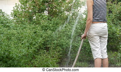 Woman is watering plants in her garden from a hose