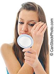 woman isolated eye brow beauty treatment - young girl ...