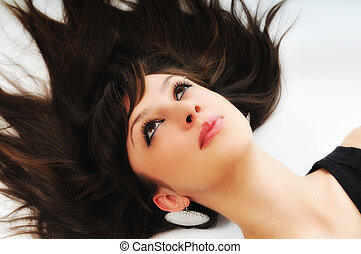 woman isolated - one beautiful young woman portrait isolated...