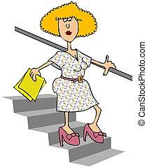 woman jár, lefelé, lépcsősor