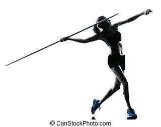 woman Javelin thrower silhouette - one caucasian woman ...