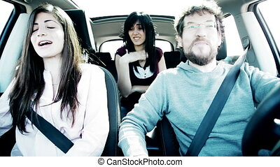 Woman jealous of boyfriend in car - Woman jealous of...