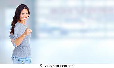 woman., jeune, heureux