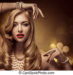 Woman Jewelry Beauty, Fashion Model Makeup Portrait, Beautiful Young Girl with Long Hair Posing Jewellery