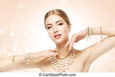 Woman Jewelry, Beauty Fashion Model Posing Jewellery, Elegant Young Girl Beautiful Makeup Portrait