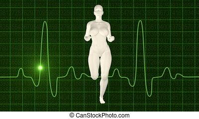 Woman jogging green oscilloscope