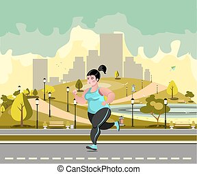 Woman jogging in the park against the backdrop of the city.