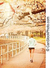 Woman Jogging In Washington DC - Vintage Filter