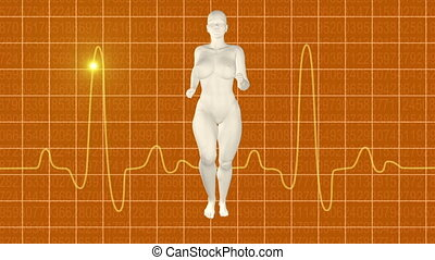 Woman jogging orange oscilloscope
