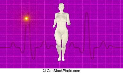 Woman jogging pink oscilloscope