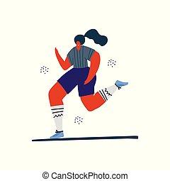 Woman jogging, running hand drawn illustration