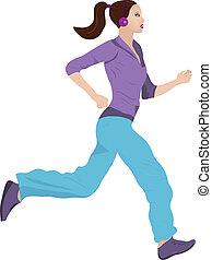 Woman Jogging - Vector illustration of