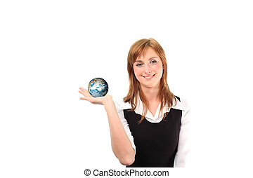 Woman jolding a globe in her hand