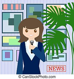 Woman journalist with microphone is a news service on the background of paintings and plants. Flat design. Vector