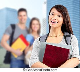 woman., jovem, estudante