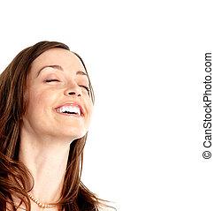woman., jovem, feliz